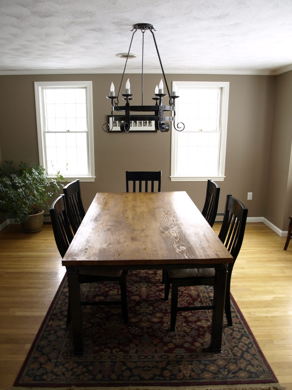 Custom Dining Table with Chandelier