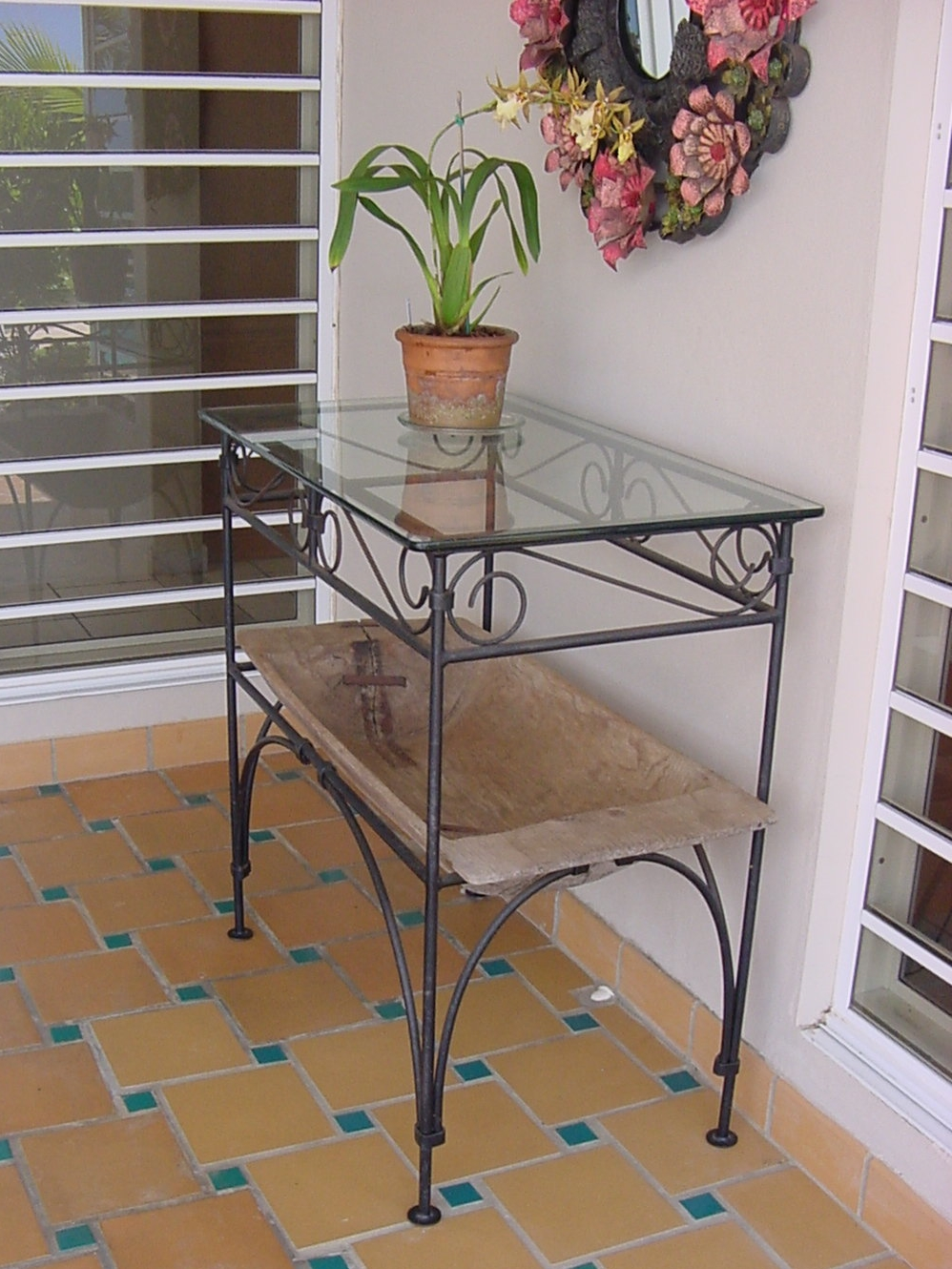 Patio Table with Vintage Trough