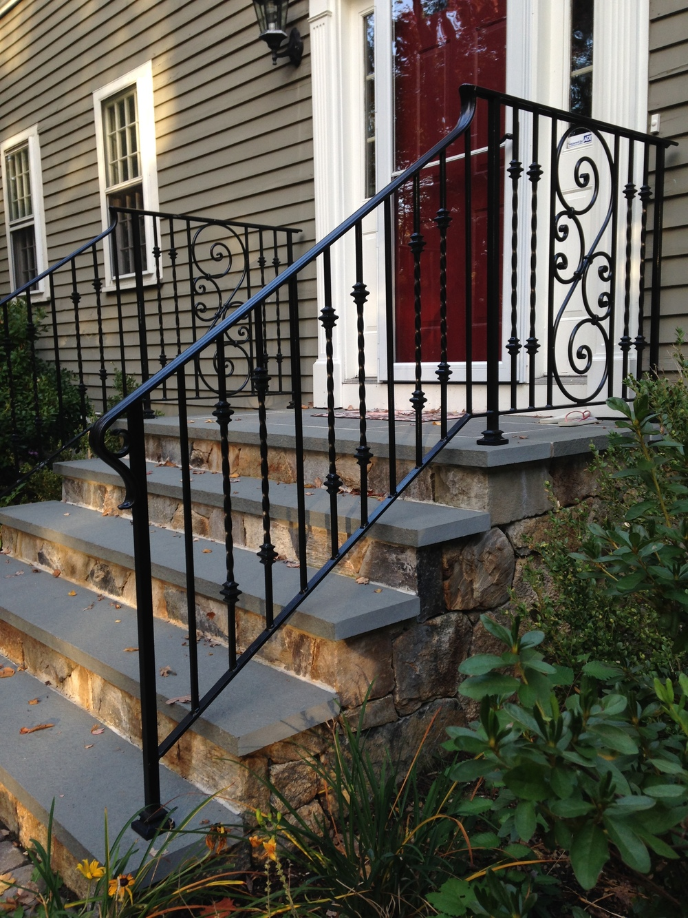 Railings with Cast Iron Collars, Cover Shoes & Forged Scrolls