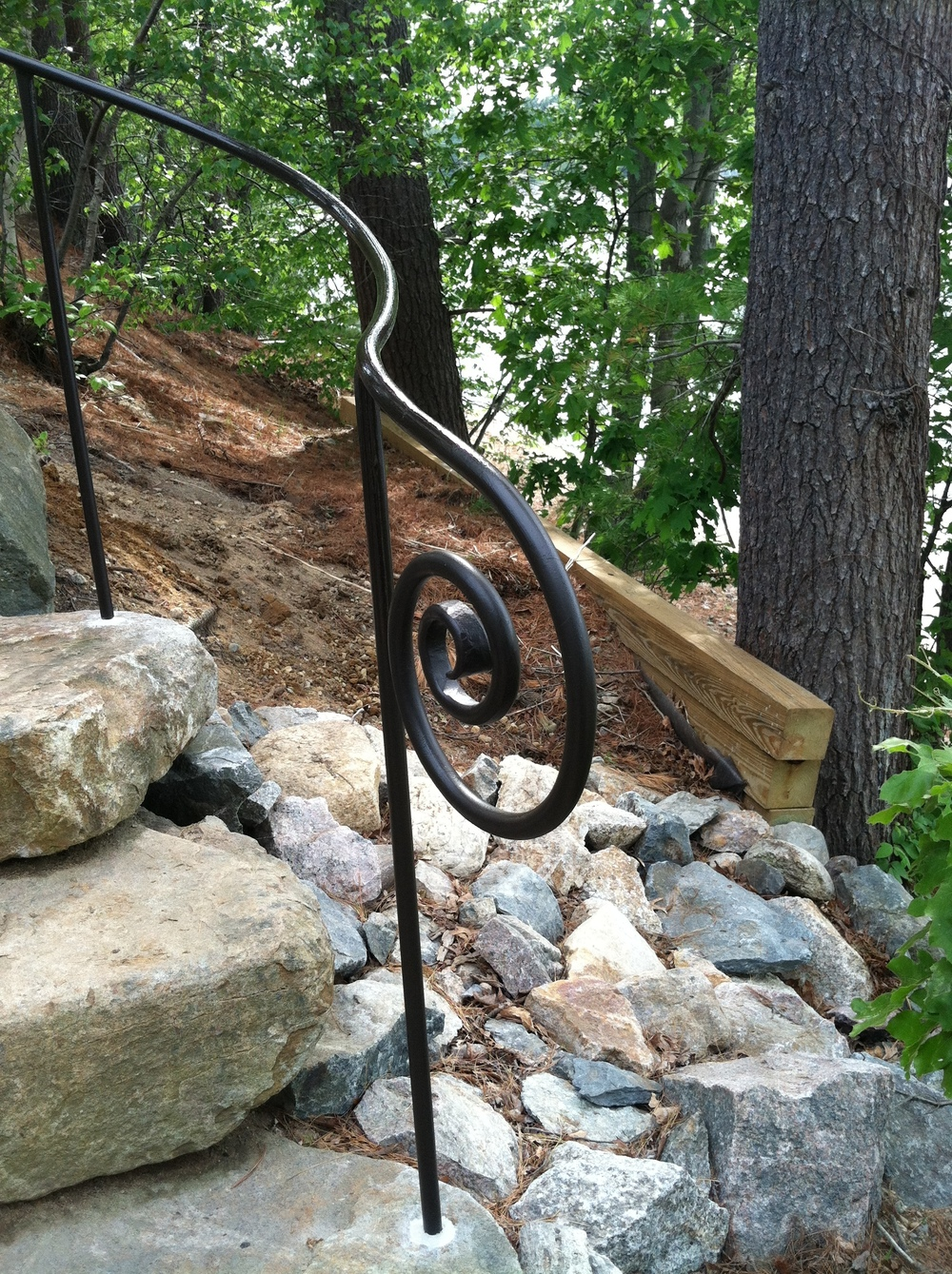 Custom Lakeside Railing, Formed On-Site