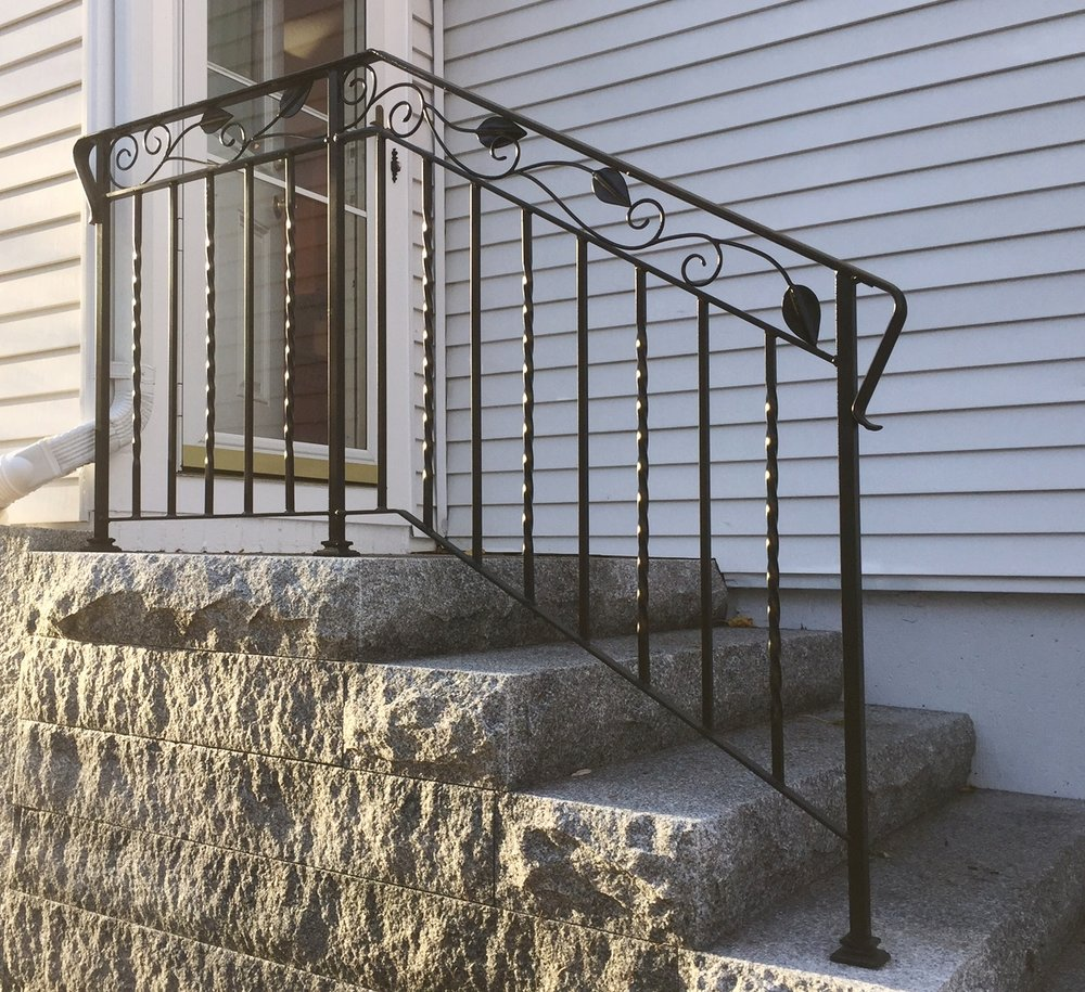 Stair Rail with Leaf Motif