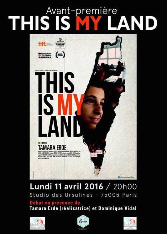 Projection -débat du film This is my land, organisée par Meydane Panthéon-Sorbonne et Meydane SciencesPo, le 11 avril 2016.