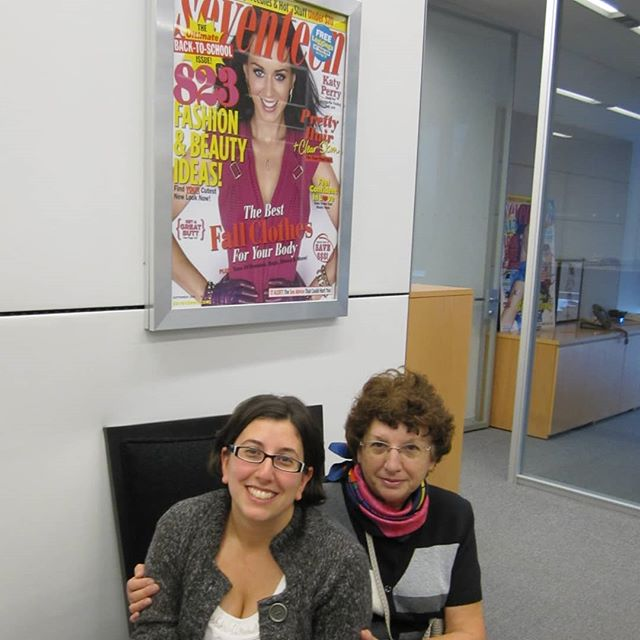 Thank goodness for my parents,  who insisted on taking embarrassing photos when visiting me at the @seventeen office back in 2010. This is one of the few I have from my days as deputy editor there. And I'm super into how hard my mom is working the camera. (Also, I had a broken arm and clearly was having trouble brushing my hair. 😂) #tbt #seventeenmagazine
