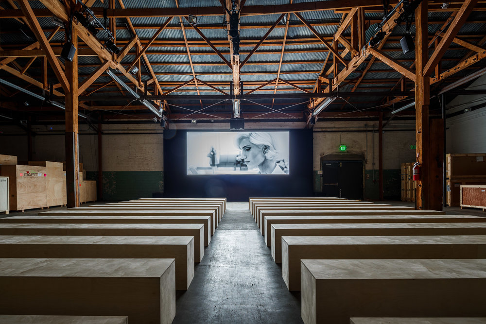"Prada ""Past Forward"" Screening directed by David O'Russell  custom built screening room at Hauser Wirth & Schimmel gallery in Los Angeles"