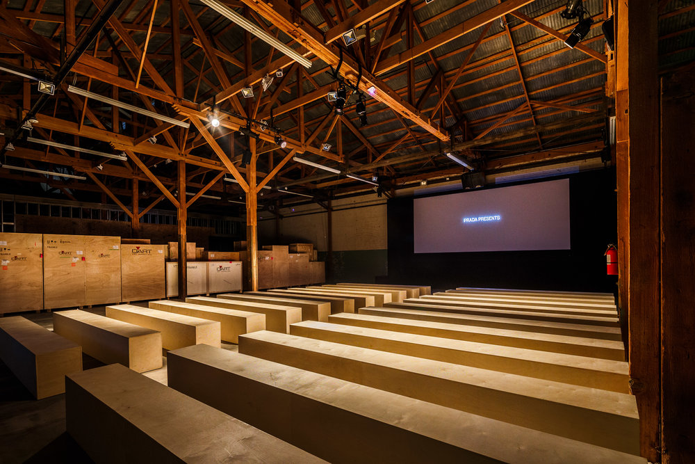 "Prada ""Past Forward"" Screening  custom built screening room at Hauser Wirth & Schimmel gallery in Los Angeles"
