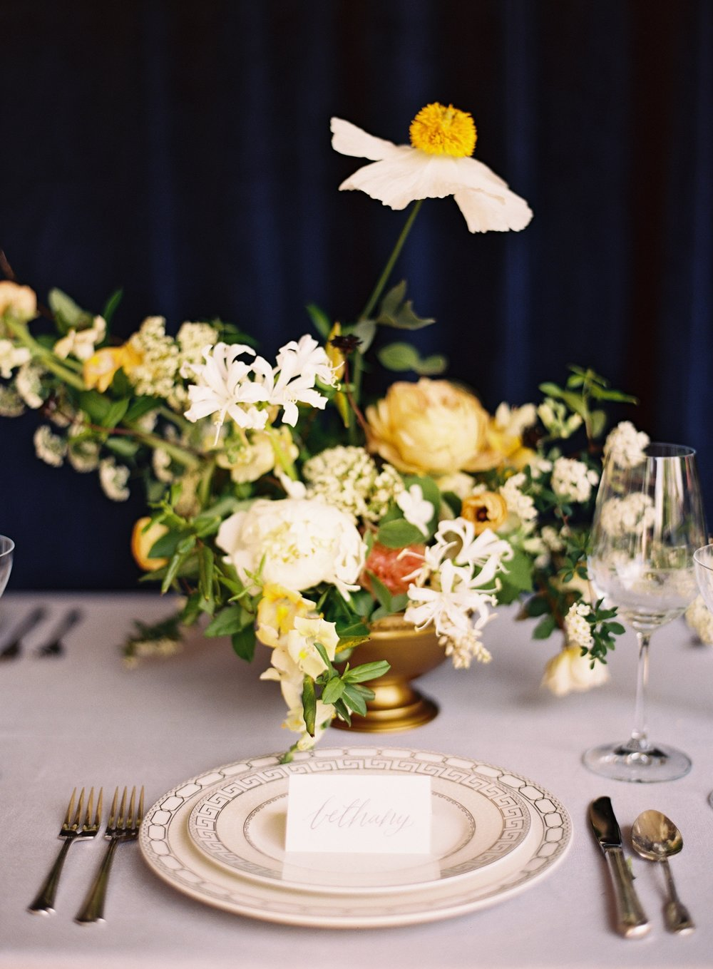 Flowers by Wild Fleurette and photography by Almond Leaf Studios,  Spring wedding centerpiece, Virginia florist, floral designer, destination wedding florist yellow golden centerpiece, fine art flowers, Richmond Virginia, Charlottesville Virginia florist