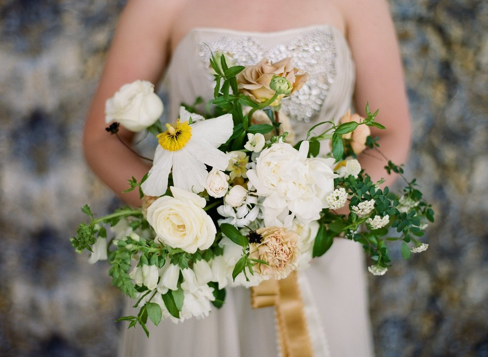Flowers by Wild Fleurette and photography by Almond Leaf Studios,  Spring wedding bouquet, Virginia florist, floral designer, destination wedding florist yellow golden centerpiece, fine art flowers, white and gold, spirea, bridal style, lush bouquet, Charlotesville wedding florist, RIchmond, Virginia wedding florist,