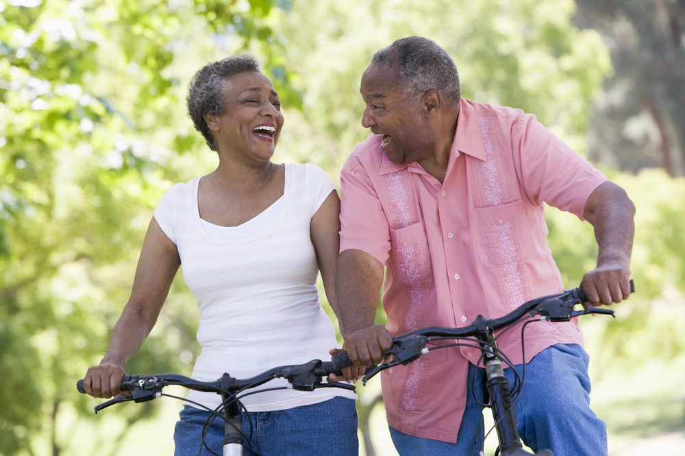 Active Couple on Bike