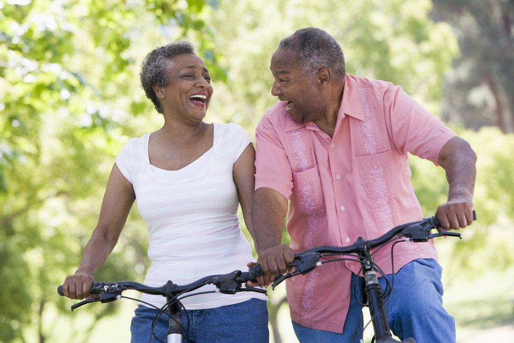 Active Couple on Bike