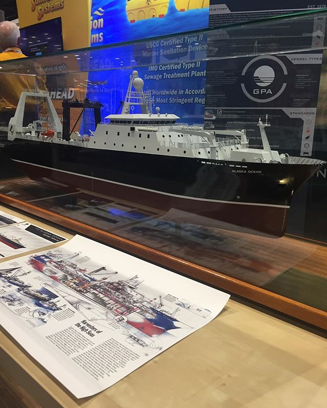 Come on down to booth 643. We've got the F/V Alaska Ocean on display! #navalarchitect #navalarchitecture #marine #marineengineer #marineengineering #fishing #pacificmarineexpo #trawler #factorytrawlers