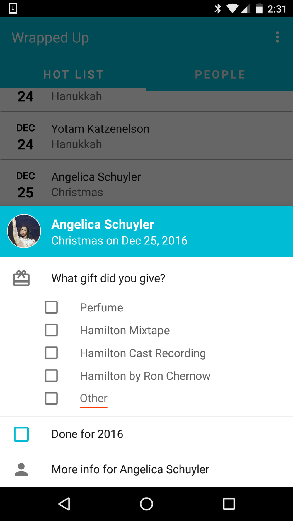 Viewing the quick info sheet for Angelica Schuyler, who celebrates Christmas on December 25, 2016