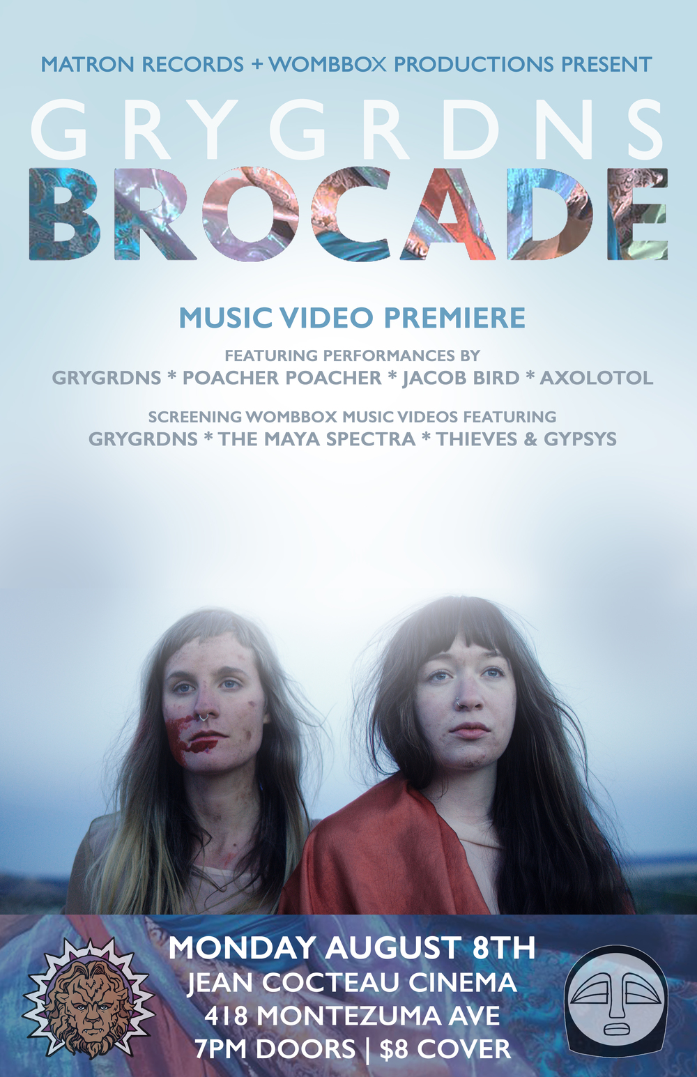 "After spending a long and thrilling weekend filming in Galisteo Basin this April, Matron Records is pleased to announce the release of   GRYGRDNS  ' new music video ""Brocade"" which will premiere Monday, August 8th at the Jean Cocteau Cinema in Santa Fe. Produced by Wombox and featuring the third single from   Interwoven  , ""Brocade"" is a heavy-hitting emotional rollercoaster of a song that is beautifully matched by the raw and powerful visual palate of director Amy West. Playing on themes of trust and betrayal the video is a potently visceral exploration of love, loss and rebirth.    Forming early 2015 as a collaboration between director Amy West and cinematographer Jakob Anderson, Wombbox is a growing collaboration of film students from Santa Fe University of Art and Design. They produced their first video,   ""Music Box""  , for local electronic pop ensemble   The Maya Spectra   which won Best Music Video at AMFM in Flagstaff and the National Film Festival for Talented Youth in addition to winning Best Student Film at the Santa Fe Independent Film Festival. Shortly after, the team created a video for Santa Fe's garage rock trio   Thieves & Gypsys   with sponsorship from Albuquerque's Marble Brewery.     All three Wombbox Production music videos will be screened at the ""Brocade"" premiere alongside acoustic performances by GRYGRDNS, Poacher Poacher (Caitlin Brothers of STBWLIH), Jacob Bird and Axolotol (Haven Willis of As In We and TOTI). Doors are at 7PM and admission is $8. For more information visit the   event webpage."