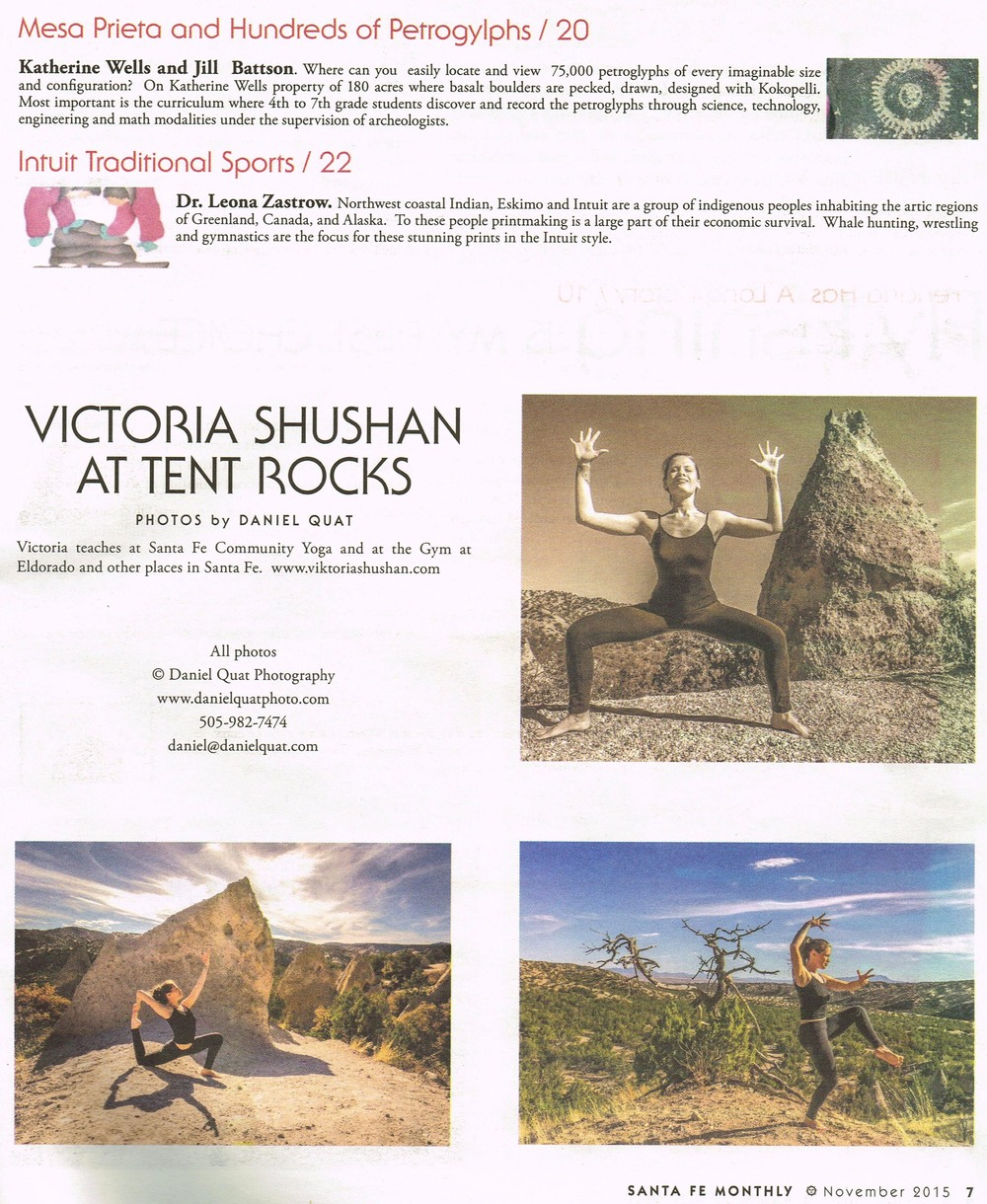 """Viktoria Shushan at Tent Rocks"" Santa Fe Monthly, November 2015"