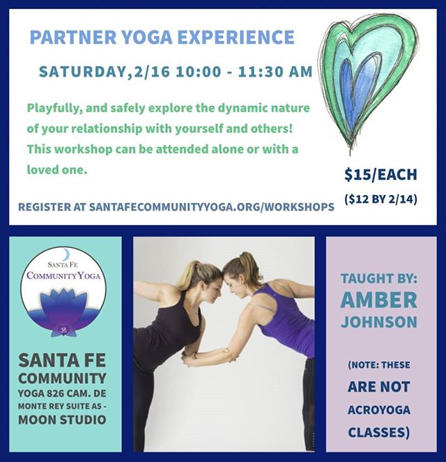 We have TWO post-Valentines day partner yoga workshops for you to choose from (scroll right)! #partneryoga #couplesyoga
