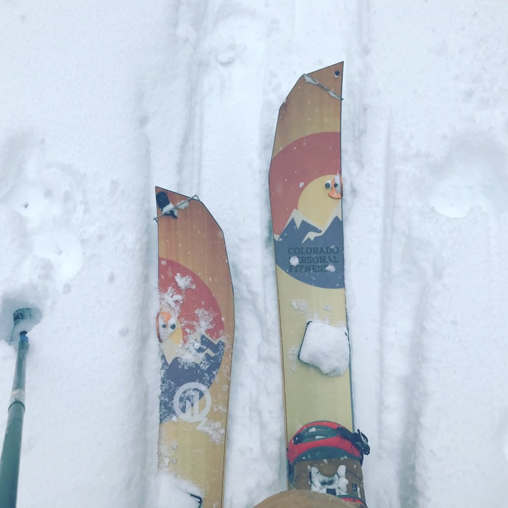 Splitboard in tour mode. BD Carbon Compactor Poles, Spark Surge bindings