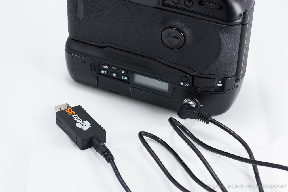 The Meta35 Adapter plugged into a Nikon F5