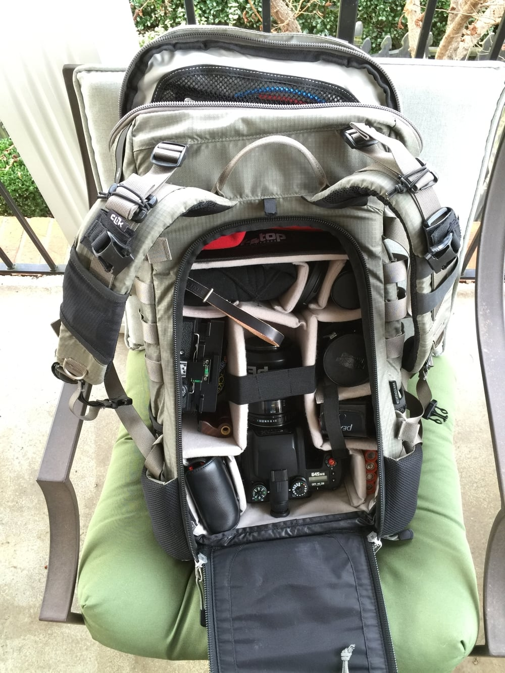 Pentax shown in F-Stop Gear's Large Sloped ICU alongside my Fotoman 69HPS