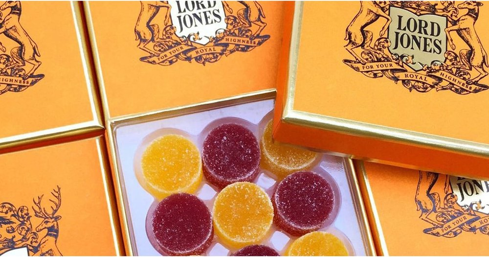 LORD JONES LIMITED EDITION HIGH CBD ALL NATURAL HOLIDAY GUMDROPS   Lord Jones introduces limited edition gumdrops that make the perfect holiday gift. Two custom flavors - Sugarplum and Mango Chili - are exclusively available on our website from November 1 through December 31. Fragrant, fruity and delicate, the Sugarplum Gumdrop is a stone fruit lovers dream of ripe juicy perfection finished with the slightest hint of crystallized ginger. For the more adventurous palate, the Mango Chili Gumdrop is the perfect combination of spicy-sweet deliciousness; tangy mango with hints of lime and ancho chili create a symphony of flavor. Each gumdrop contains 20mg of CBD with no artificial colors or flavors.