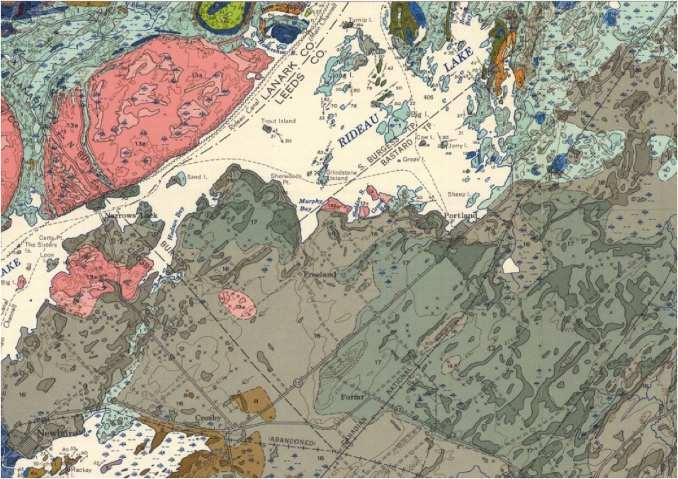 Geologic Map of Big Rideau Lake - This segment of the Westport Sheet of the Geological Survey of Canada illustrates Big Rideau Lake in white. To its north, the Rideau Lake Laccolith is shown in red. The diversity of colours around this laccolith is just a hint of the very complex minerology and geology of the Canadian Shield. This ancient core of North Continent, of igneous and metamorphic rocks extends around James and Hudson Bays to the Arctic. The geology illustrated on the south side of the Big Rideau is much less colourful and less complex; illustrating the much younger sedimentary strata of the St. Lawrence Plain. Its subdued landscape was more suited for human activity [farming] and infrastructure.