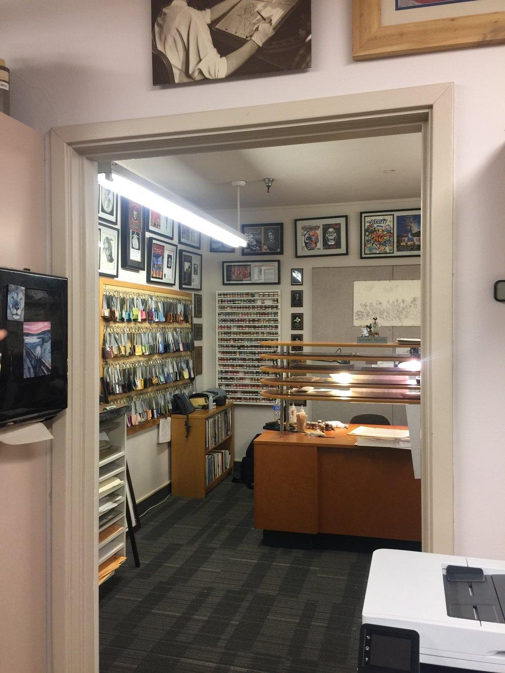 Inside Antonio's office.