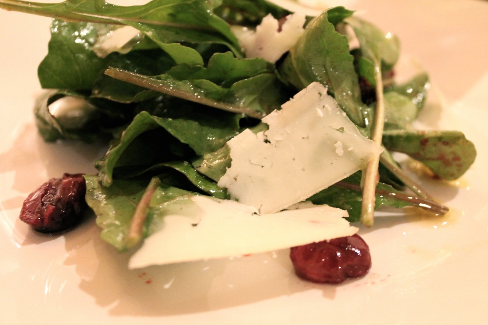 wild arugula salad with cherries, hazelnuts, and pecorino