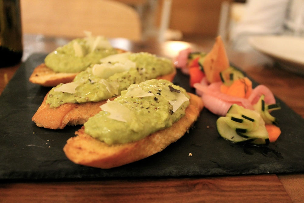 fava beans crostini with mascarpone and pecorino cheeses