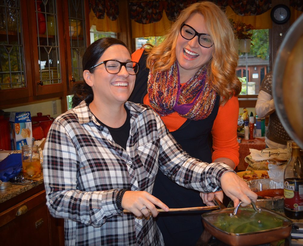 Alicia and I crack up while she serves up a healthful side.