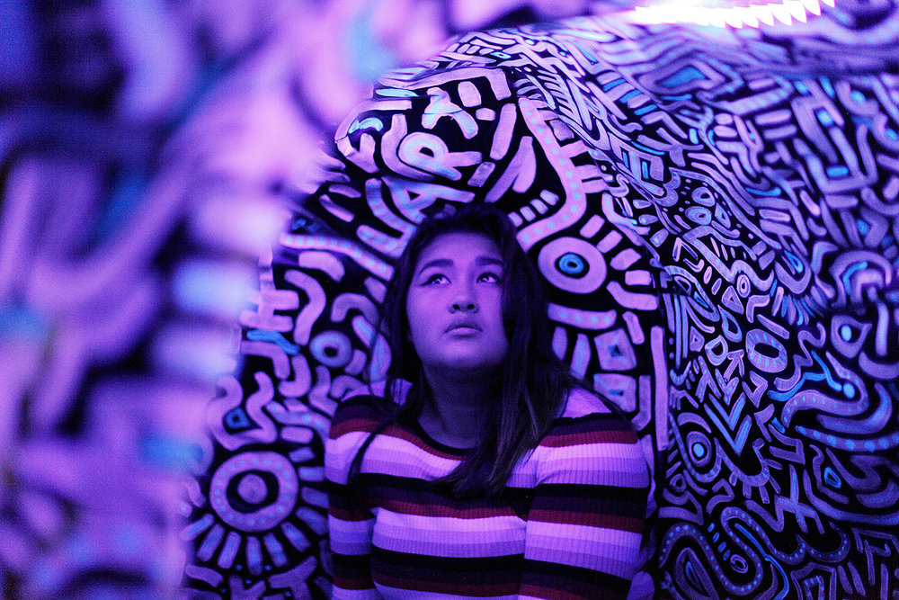 Beautiful patterned tunnel with artwork by Tiffany McKnight.
