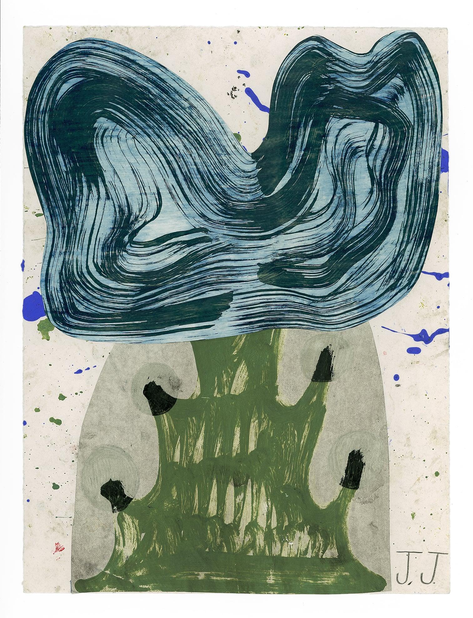 "Josh Jefferson ""Happy Tree"" 2015, collage on paper, 12"" x 9"""