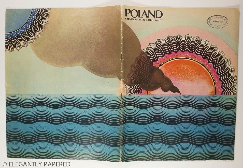 Poland       Illustrated cover by Polish painter Roslaw Szaybo. He also designed record covers for the likes of Janis Joplin and The Clash! Inside this issue - old furniture and fabric designs related to Polish culture.