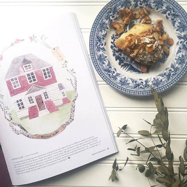 """Almond croissant  &   @makersmovement     magazine on a rainy day. So cool to see my artwork in print! I was also thrilled to see so many other makers' that I've connected with scattered throughout the magazine. This Instagram community of creatives astonishes me constantly."" - @jennihaikonen"