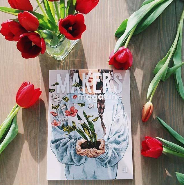 """Mum brought me fresh tulips ~ Ahhh and Issue 1 of   @makersmovement   came in the mail   today.""   -   @justbsmiling"