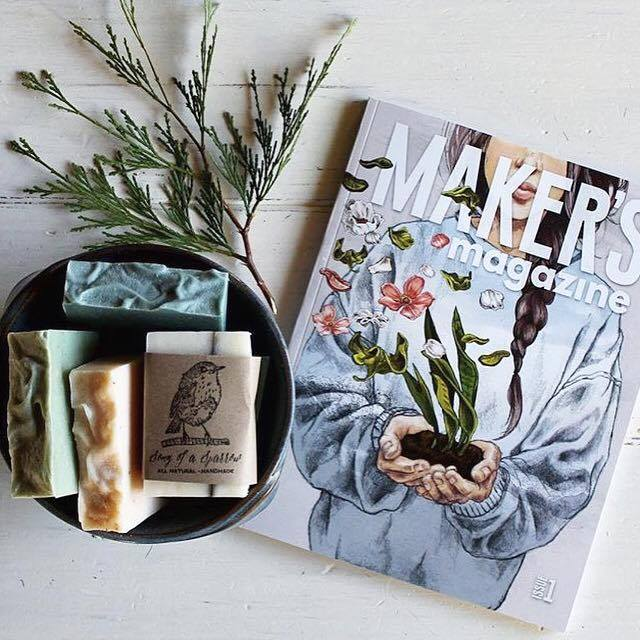 """Good morning beautiful people! Enjoying my copy of Maker's Magazine from   @makersmovement  . This is a gorgeous publication. I'm both thrilled and completely humbled to be in the company of so many talented artists and writers featured in it."" - @songofasparrow"
