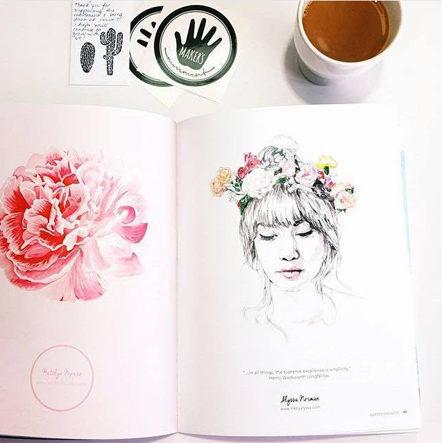 """  Nothing like drinking your morning coffee, reading the first    issue of   #makersmovement    magazine, and seeing your work in there! So proud and happy to be included in this incredible group.   Go get a copy!"" - @inkillustrations"