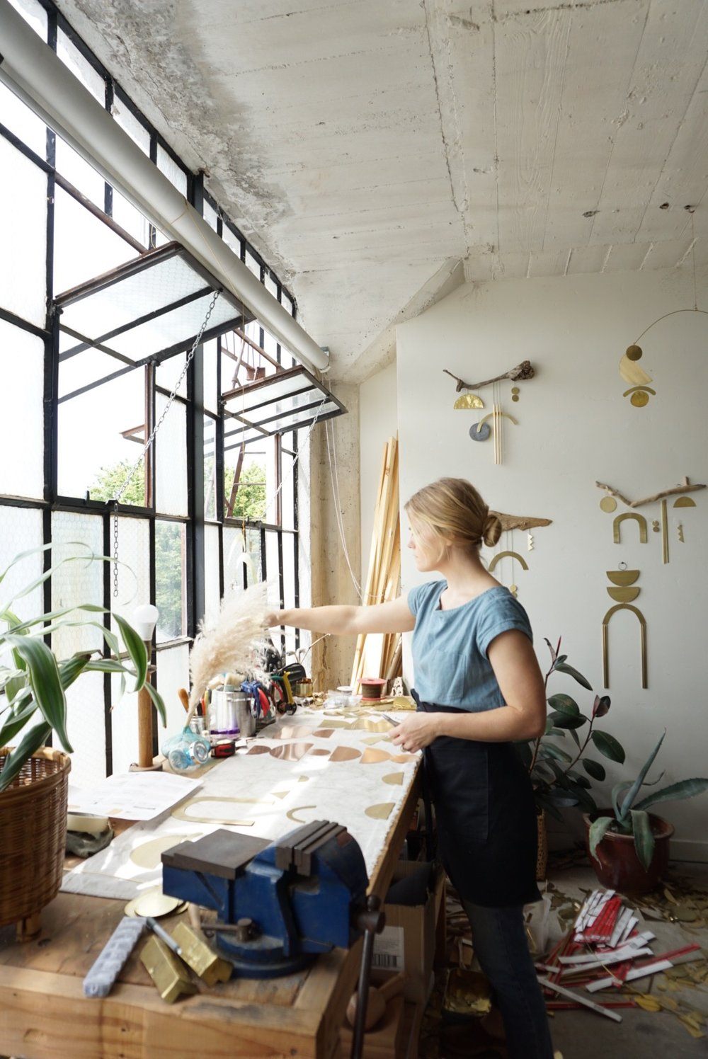 Sarah Perez working in her studio
