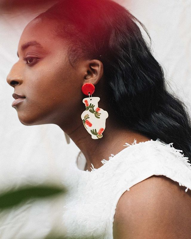 """Dreamy drop earrings by @ayeshaaggarwal ❤️ """"My small batch ceramics are all handmade in my home studio. I draw inspiration from the intricacies of plants to create one-of-a-kind, functional ceramics featuring bright and bold botanical designs. I'm particularly drawn to tropical plants that remind me of my childhood and the strange beauty of native Australian plants which are unlike anything I'd ever seen before. I use a variety of ceramic techniques to create a canvas which I paint and carve on the fly. The process is completely organic which means no two pieces are exactly alike. I like to think this makes each little clayby special in its own right."""" Photo by @sharm_nie #makersmovement"""