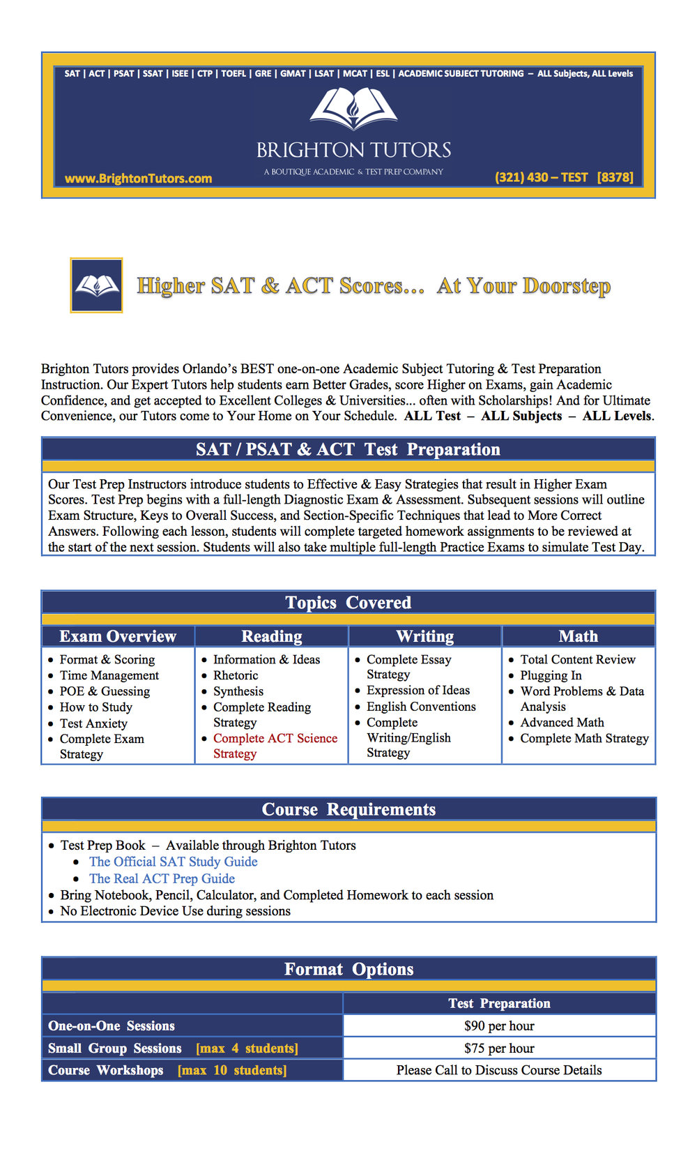 Course Description for Brighton Tutors SAT / PSAT & ACT Test Prep Tutoring: The Best SAT & ACT Test Prep in Orlando, Florida.