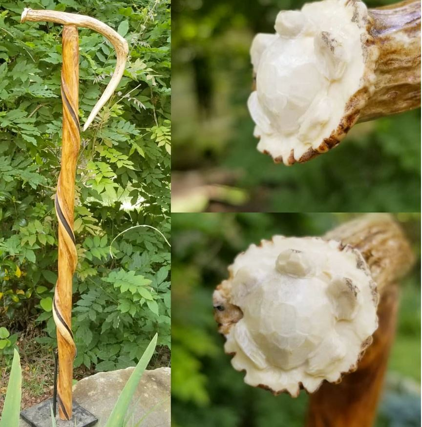 carved antler handle cane