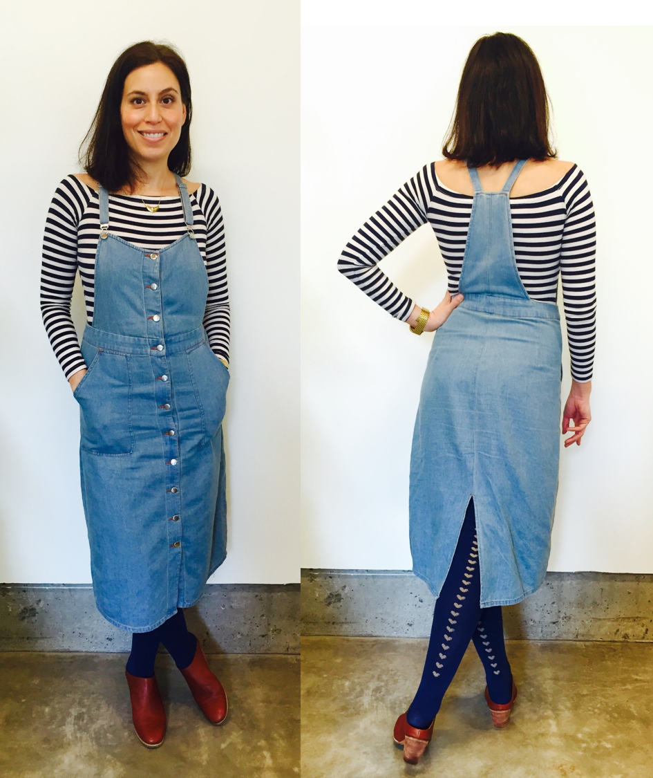 This overall dress from Capulet will transition perfectly into warmer months with a tank top and sandals. For now, I layer with long sleeves and these adorable over the knee socks from Tabbi socks.