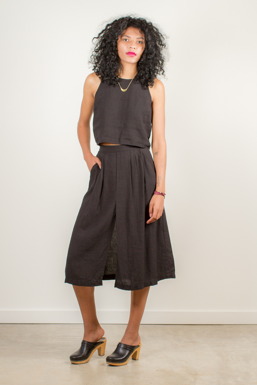 Banded top from First Rite ($145) with matching side-slit skirt ($220)