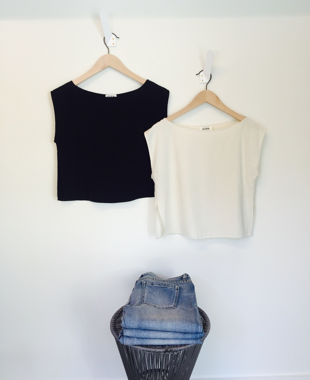 OZMA silk tops in natural and black