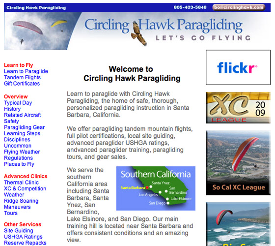 Circling Hawk Paragliding Web Design