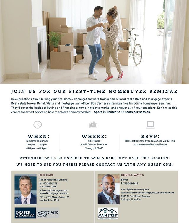 Come in to HiFi this Wednesday for the  First Time Home Buyer Seminar AND GET A FREE SMOOTHIE with @donellwattsrealty  Learn about the process along with lending programs. Wednesday Feb 28th 3-3:45pm and 4-4:45pm.