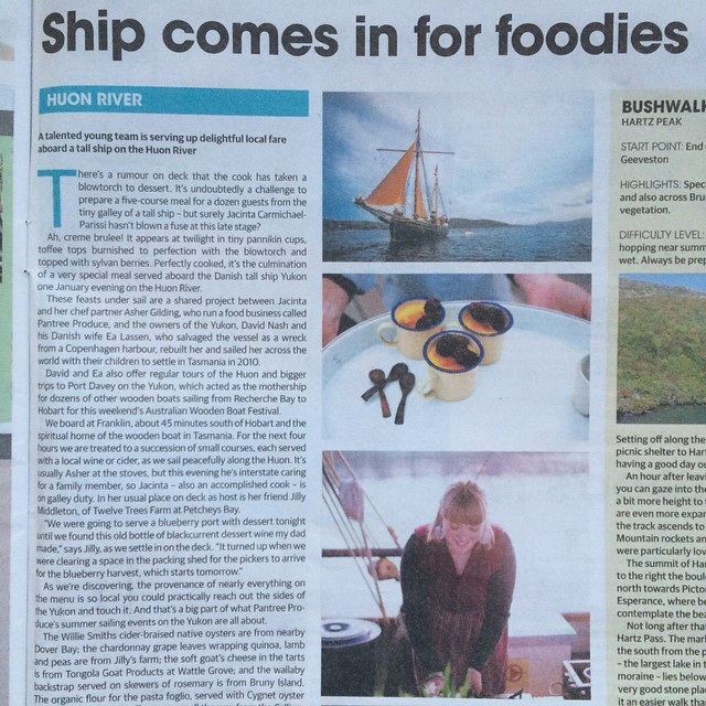 How exciting! We are in this weeks @tasweekend for The River's Table Sunday sails aboard the Yukon! Thank you Amanda Ducker for the gorgeous write up, @jillymiddleton for all of the help and produce, @hugoandelsa for the planning and dreaming times, #yukonsailingtours for sharing their amazing ship and my love @asher_gilding and family for everything always!