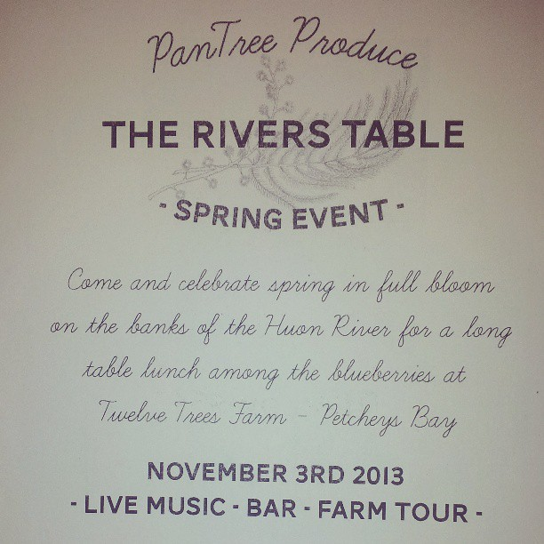 Ooh! Snippet of our new little poster for #theriverstable at #twelvetreesfarm for more info go to  www.pantreeproduce.com/events  (at Petcheys Bay Tas)