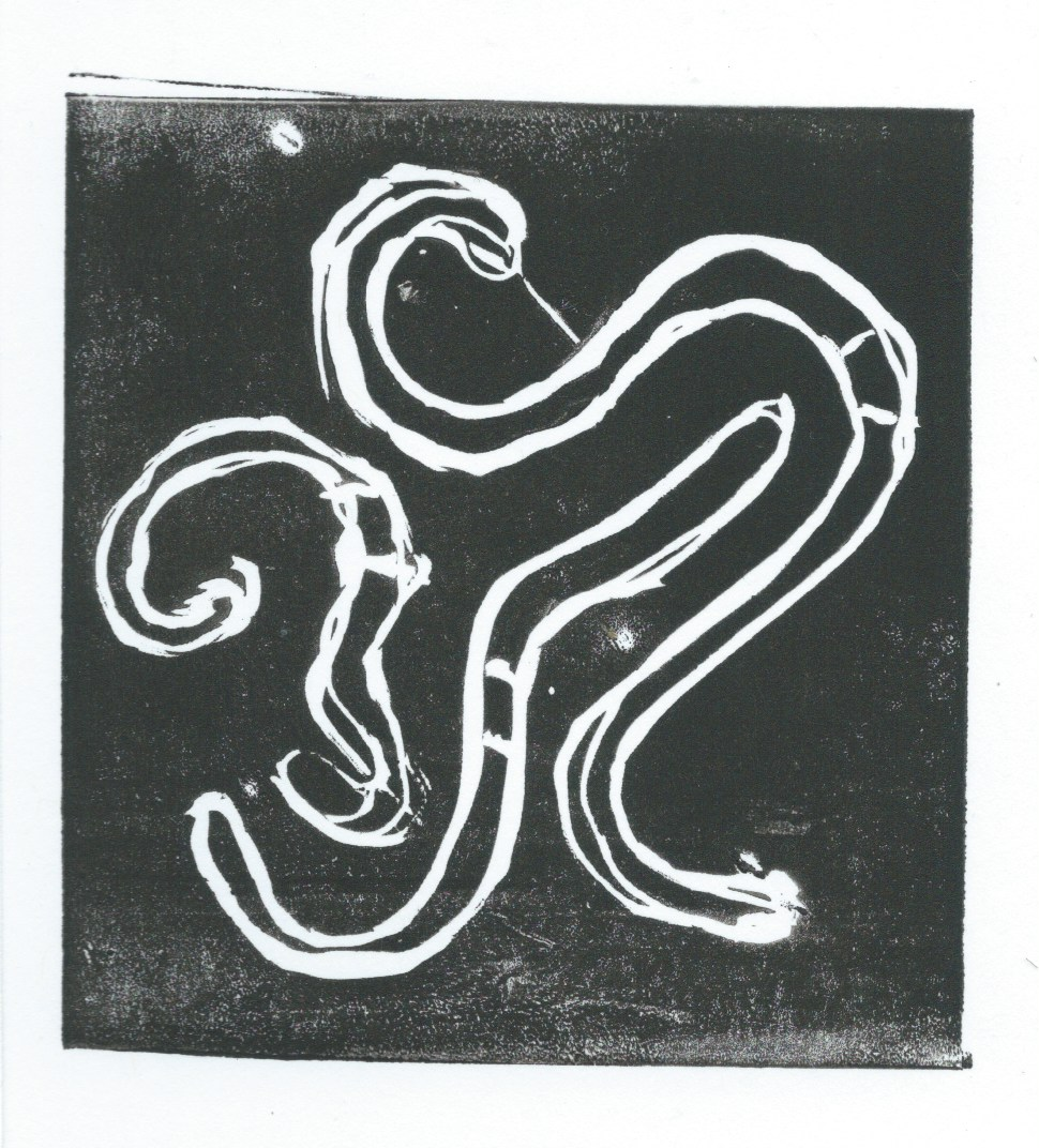 Linocut Print of Earthworms by Manu