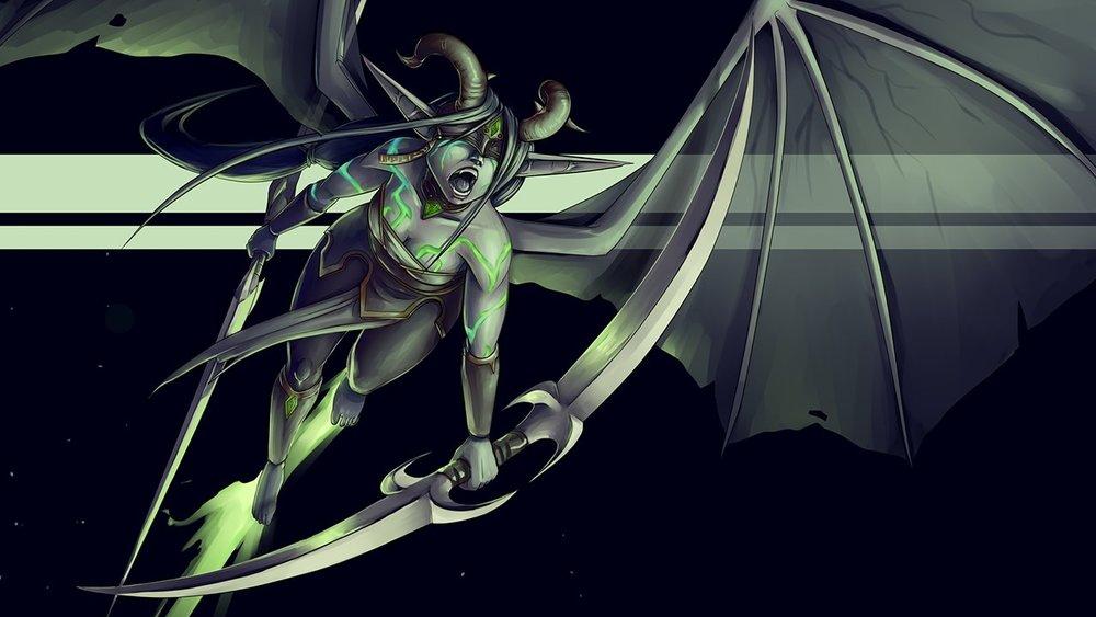 Female Demon Hunter, World of Warcraft Tribute Wallpaper