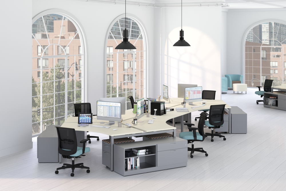 HON Accelerate 120 Degree Workstations with Contain Storage