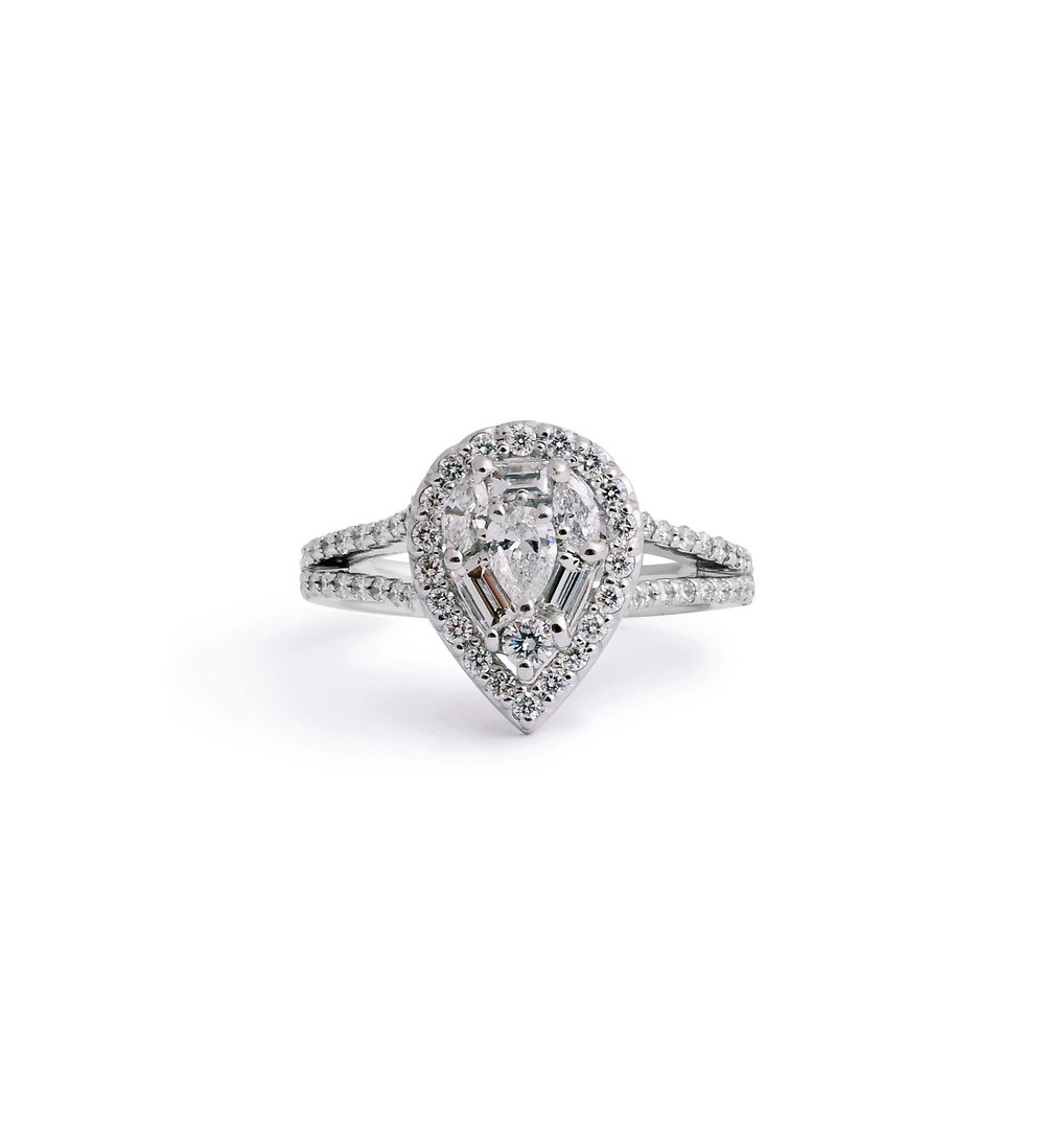 and pear diamond engagement halo shaped ring athena rose shape wedding jewelry cut rings