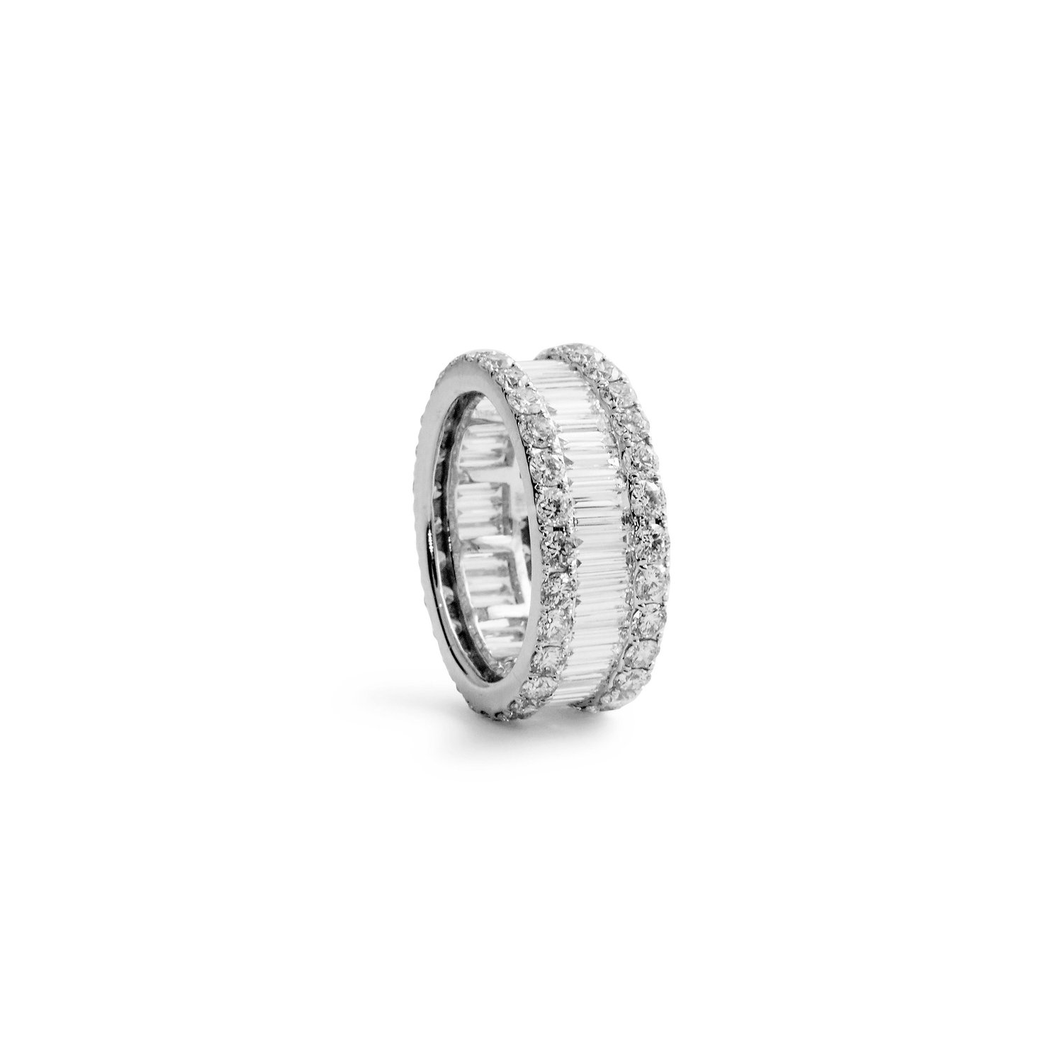 Jewelry by Marsha — Round Brilliant and Baguette Diamond Wedding Band
